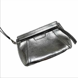 Express small silver clutch zip close faux leather